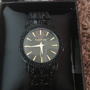 Bebe Black Pave Crystal black watch